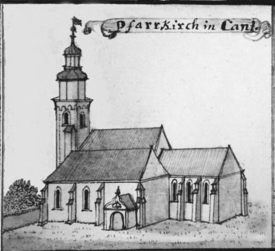 Kościół katolicki w Kątach wg. sztychu F. B. Wernera z 1755